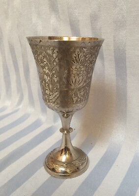 Vtg Ornate Metal Silver-plated Wine Water Goblet Chalice from India