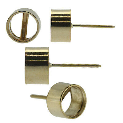 14k Yellow Gold Round Bezel Stud Earring Mounting Setting Screw Back Post