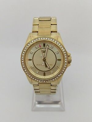Juicy Couture Stella Women's Stud's Hour Markers Gold Dial Watch   B+