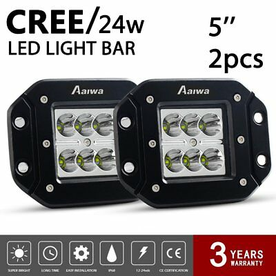 2X 24W CREE SPOT LED Cube Pods Work Light Flush Mount Offroad Truck Square 5inch