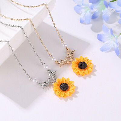 Charm Sunflower Leaf Branch Necklace Twig Pendant Necklaces Women Jewelry Gifts