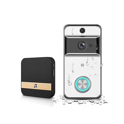 GJT 2018 Splash-Proof Smart Video Doorbell Home Security Camera with Indoor C...