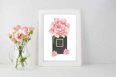Floral Perfume Bottle Poster Print Home Decor Fashion A4 A3  Beauty Girls - 1497