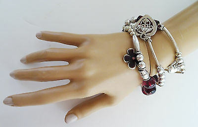 Chunky Charm Bracelet Red Beads & Heart Flower Charms Antiqued Silver Tone