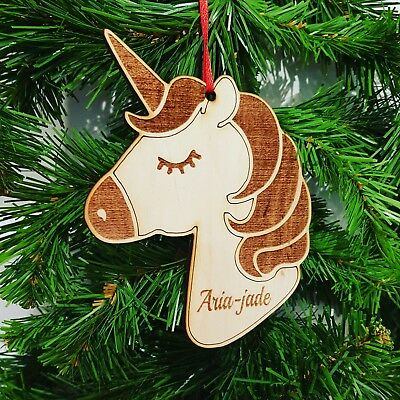 Personalised Name Only Unicorn Bauble Hanging Unicorn Crafts mdf undecorated