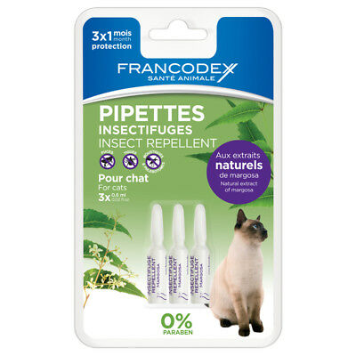 Pipettes Insectifuges pour Chat - Francodex - 3x0,6ml
