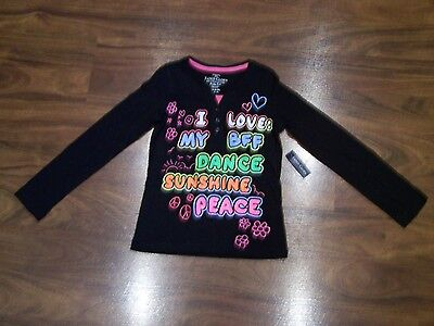 Girls Sz 6 6X Faded Glory Long Sleeve Black W/ Pink Knit Top Nwt New