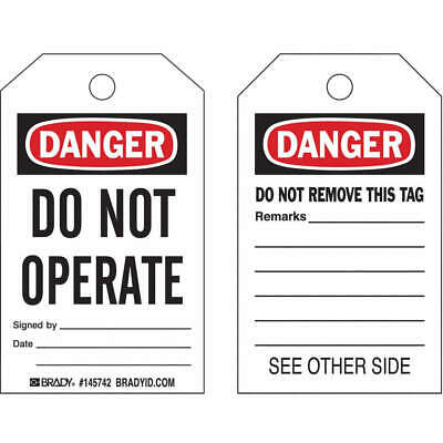 BRADY Plastic Danger Tag,Do Not Operate,PK10, 145768