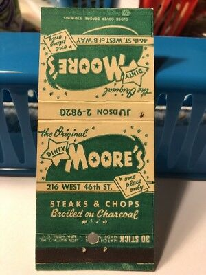 Vintage Matchbook Cover Dinty Moore's Restaurant Old Style Phone Number G52$Drop