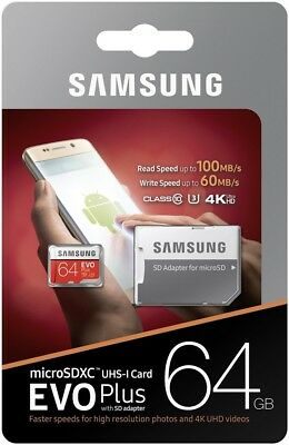 64GB Samsung 100MB/s micro SD XC Memory Card For Go Pro Hero 4 4k HD Camcorder