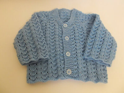 Hand Knitted Baby Cardigan Medium Blue 0-3 months Baby Boy Lovely