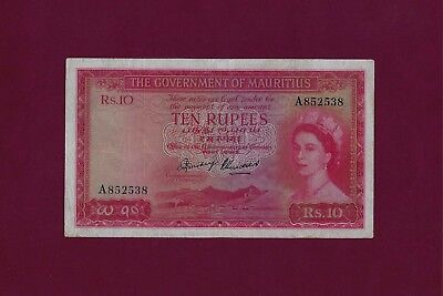 MAURITIUS 10 Rupees 1954  P-28 VF-XF   -  SEYCHELLES