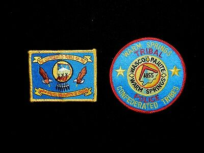 Two Warm Springs Oregon Tribal Police Patches, Nice!!