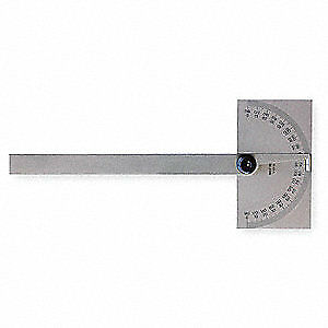 MITUTOYO Steel Protractor,Rectangular,6 In,Non-Grad, 968-201