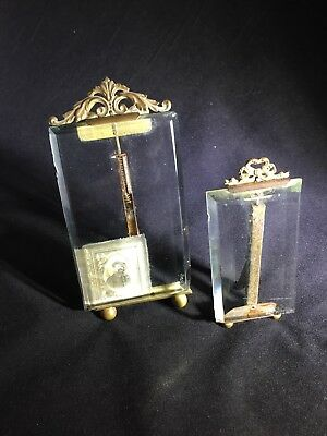 Antique French Frames Pair With Beveled Glass And Gold Metal Trim
