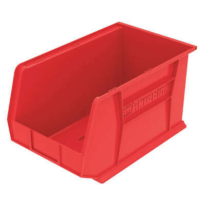 AKRO- Industrial Grade Polymer Hang/Stack Bin,H 10, W 11,D 18,Red, 30260RED, Red