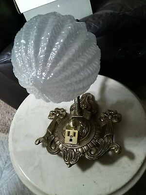 Antique or Vintage Ornate Brass Bathroom Wall Light Fixture with Plug