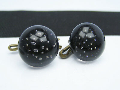 Antique Victorian Hand Blown Glass Paperweight Bubble Crystal Shirt Stud Buttons
