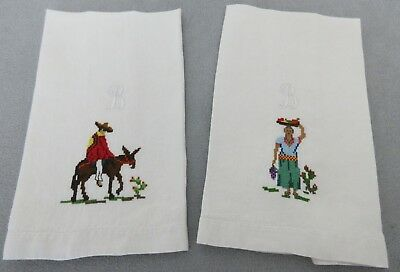 Vtg 2Pc Set Irish Linen Mexican Petit Point Needlepoint Guest,hand Towels,mono B