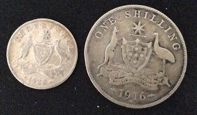 1916 1/- one shilling, 1922 3d threepence - 2 coins