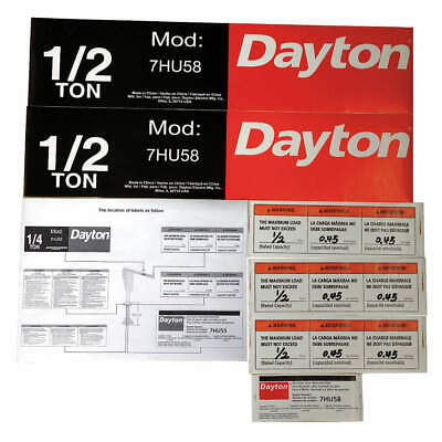 DAYTON Jib Crane Label Kit,For Use With 7HU58, 28CH77