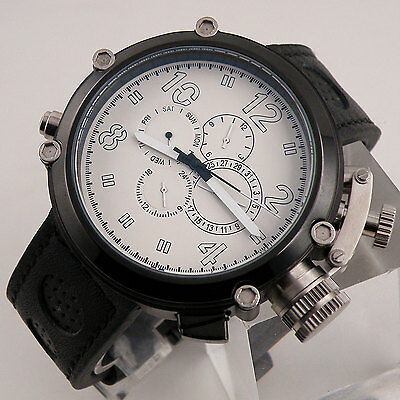 50mm PVD Case Parnis Big Face White Dial Automatic Week Date Mens Watch