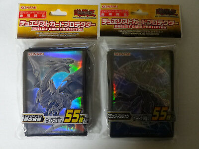 "Yu-Gi-Oh Card Protector ""Blue Eyes White"" & ""Dark magician"" Sleeve 55pcs Japan"