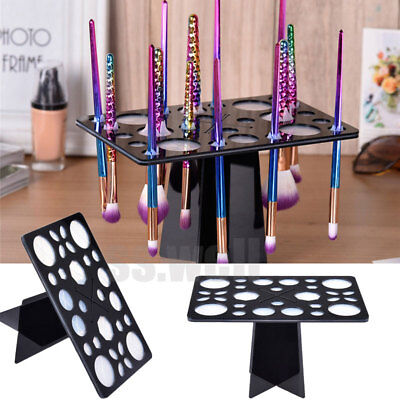 28 Hole Makeup Brush Holder Organizer Stand Collapsible Comestic Tree Rack Dryer