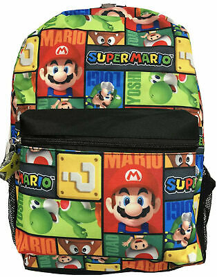 Super Mario School Backpack Book Bag Yoshi Luigi Kong All Character Printed 16""
