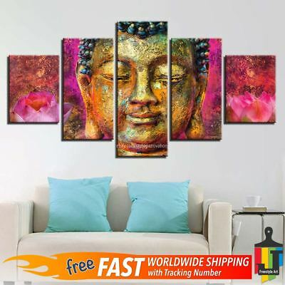 5 Pieces Canvas Buddha Abstract Painting Wall Art HD Print Home Decoration