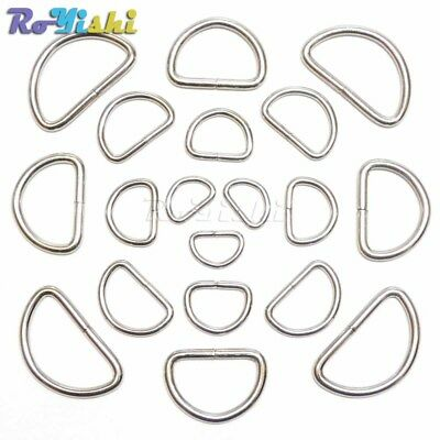 """3/8"""" 1/2"""" 5/8"""" 3/4"""" 1"""" D Ring Webbing Strapping Leather Bag Shirt Craft"""