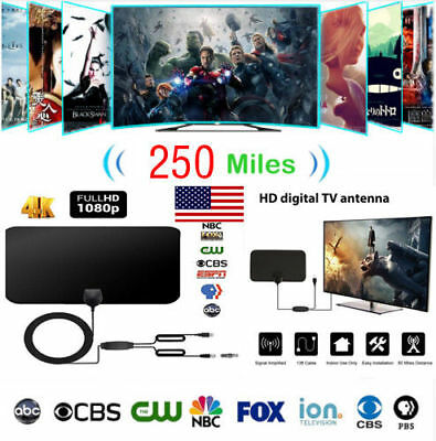 250 Mile HDTV Indoor Antenna Aerial HD Digital TV Signal Amplified Booster Cable