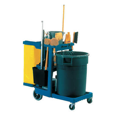 RUBBERMAID COMMERCIAL PRODUCTS Cleaning Cart,Blue,Plastic, FG617388BLUE, Blue