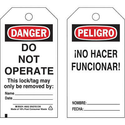 BRADY Polyester Danger Bilingual Tag,5-1/2 x 3 In,PK25, 65670