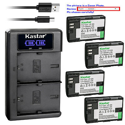 Kastar LCD Dual Charger Battery for Canon LP-E6 LPE6N LC-E6E Canon EOS 6D Camera