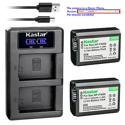 Kastar LCD Dual Charger Battery for Sony NP-FW50 BC-VW1 & ILCE-6500 Alpha a6500