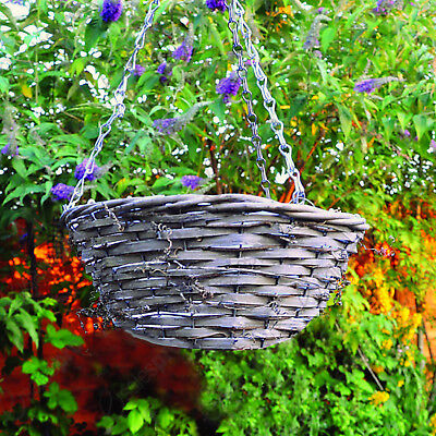 "Natural 14"" wicker hanging basket with multi buy discounts"