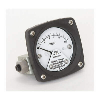 MIDWEST INSTRUMENT Pressure Gauge,0 to 10 psi, 120-SA-00-OO-10P