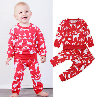 US Infant Baby Boys Girls Red Christmas Reindeer Tops+Pants Outfits Clothes Set