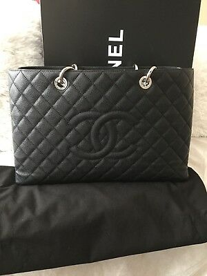 1538eae06d08 Auth Chanel Gst Xl Grand Shopping Tote Large Black Silver Hw Shoulder Bag  Discnt