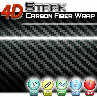 4D Carbon Fibre Vinyl Wrap / BLACK GLOSS MATTE // Bubble/Air Free Multi Sticker