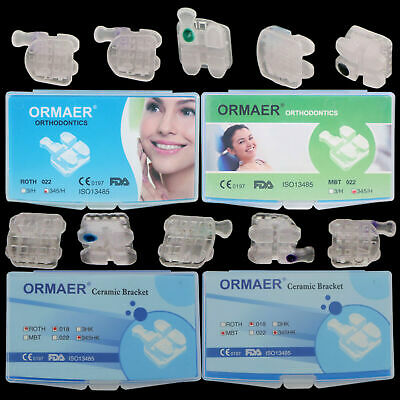 ORMAER Orthodontic Ceramic Brackets 3M Style Roth/MBT 022 Hook 3/345 Dental