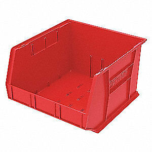 A Industrial Grade Polymer Hang/Stack Bin,H 11, W 16 1/2,D 18,Red, 30270RED, Red