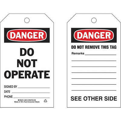 BRADY Polyester Danger Tag,7 x 4 In,Bk and R/Wht,PK10, 86516