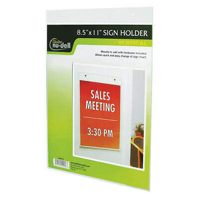 NUDELL Sign Holder,Wall,8-1/2x11,Acrylic,Clear, 38011, Clear