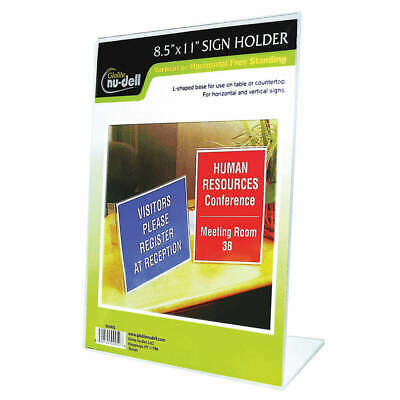 NUDELL Sign Holder,Freestanding,8-1/2x11Acrylic, 35485, Clear