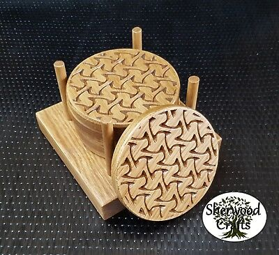 Handmade Solid Oak Wood Round Coaster - 4 or 6 plus Holder
