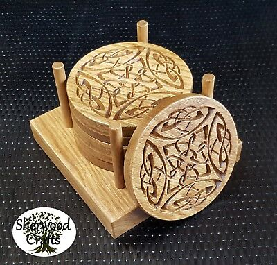 Handmade Solid Oak Wood Round Coaster - Celtic -  4 or 6 plus Holder