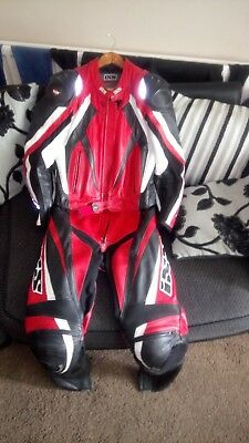 """2 piece motorcycle leathers IXS size 30"""" chest 40"""" chest 5"""",11-6ft"""
