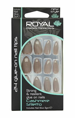 Royal 24 Glue-On Strong & Resilient Nail Tips-Cashmere Stiletto